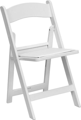 HERCULES Series 1000 lb. Capacity White Resin Folding Chair with White Vinyl Padded Seat LE-L-1-WHITE-GG by Flash Furniture - Peazz Furniture