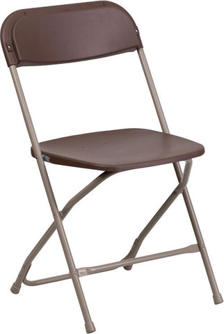 Flash Furniture LE-L-3-BROWN-GG HERCULES Series 800 lb. Capacity Premium Brown Plastic Folding Chair - Peazz Furniture