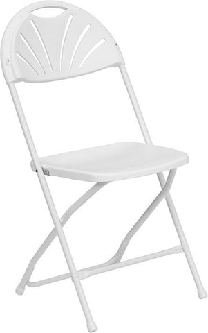 HERCULES Series 800 lb. Capacity White Plastic Fan Back Folding Chair LE-L-4-WHITE-GG by Flash Furniture - Peazz Furniture