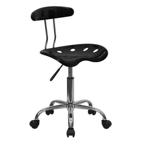 Vibrant Black and Chrome Computer Task Chair with Tractor Seat LF-214-BLK-GG by Flash Furniture - Peazz Furniture