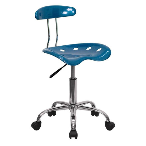 Vibrant Bright Blue and Chrome Computer Task Chair with Tractor Seat LF-214-BRIGHTBLUE-GG by Flash Furniture - Peazz Furniture