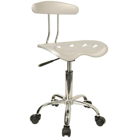 Vibrant Silver and Chrome Computer Task Chair with Tractor Seat LF-214-SILVER-GG by Flash Furniture - Peazz Furniture