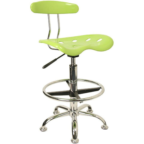 Vibrant Apple Green and Chrome Drafting Stool with Tractor Seat LF-215-APPLEGREEN-GG by Flash Furniture - Peazz Furniture