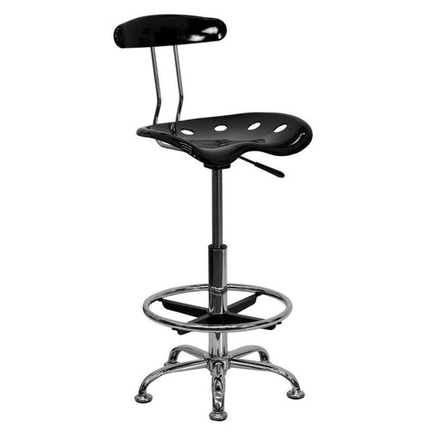 Vibrant Black and Chrome Drafting Stool with Tractor Seat LF-215-BLK-GG by Flash Furniture - Peazz Furniture