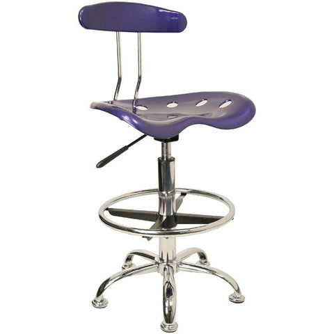 Vibrant Deep Blue and Chrome Drafting Stool with Tractor Seat LF-215-DEEPBLUE-GG by Flash Furniture - Peazz Furniture
