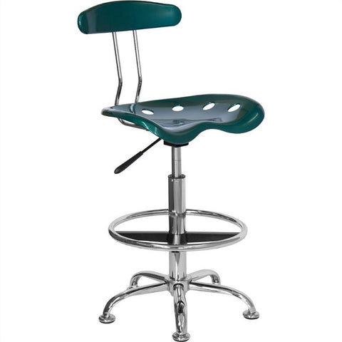 Vibrant Green and Chrome Drafting Stool with Tractor Seat LF-215-GREEN-GG by Flash Furniture - Peazz Furniture