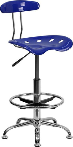Flash Furniture LF-215-NAUTICALBLUE-GG Vibrant Nautical Blue and Chrome Drafting Stool with Tractor Seat - Peazz Furniture