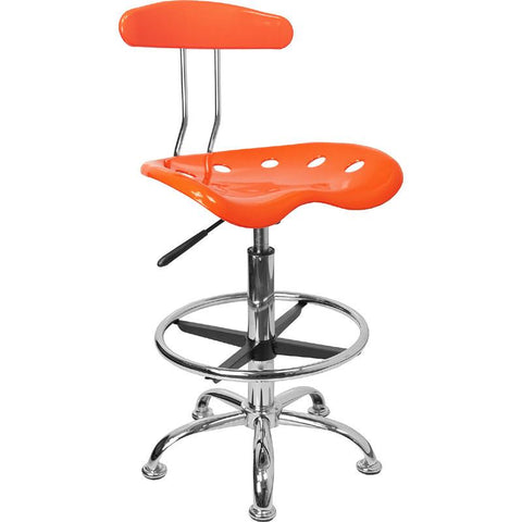 Vibrant Orange and Chrome Drafting Stool with Tractor Seat LF-215-ORANGEYELLOW-GG by Flash Furniture - Peazz Furniture