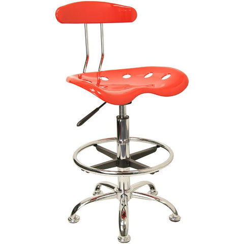 Vibrant Red and Chrome Drafting Stool with Tractor Seat LF-215-RED-GG by Flash Furniture - Peazz Furniture