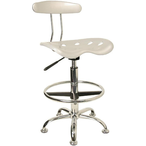 Vibrant Silver and Chrome Drafting Stool with Tractor Seat LF-215-SILVER-GG by Flash Furniture - Peazz Furniture