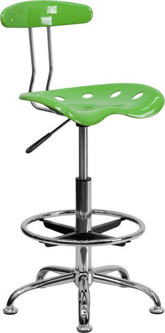 Flash Furniture LF-215-SPICYLIME-GG Vibrant Spicy Lime and Chrome Drafting Stool with Tractor Seat - Peazz Furniture