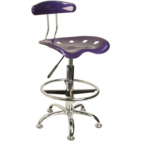 Vibrant Violet and Chrome Drafting Stool with Tractor Seat LF-215-VIOLET-GG by Flash Furniture - Peazz Furniture