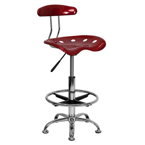 Vibrant Wine Red and Chrome Drafting Stool with Tractor Seat LF-215-WINERED-GG by Flash Furniture - Peazz Furniture