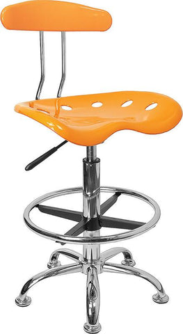Vibrant Orange-Yellow and Chrome Drafting Stool with Tractor Seat LF-215-YELLOW-GG by Flash Furniture - Peazz Furniture