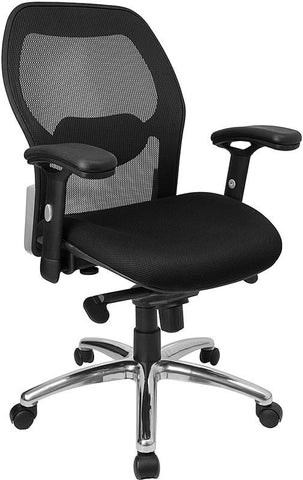 Mid-Back Super Mesh Office Chair with Black Fabric Seat and Knee Tilt Control LF-W42-GG by Flash Furniture - Peazz Furniture