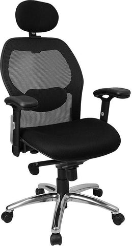 High Back Super Mesh Office Chair with Black Fabric Seat and Knee Tilt Control LF-W42-HR-GG by Flash Furniture - Peazz Furniture