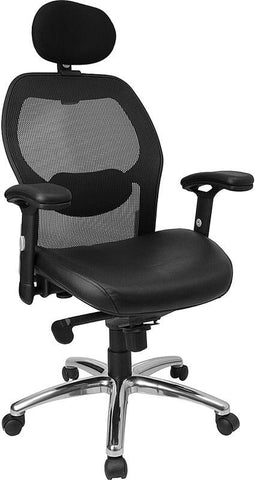 High Back Super Mesh Office Chair with Black Italian Leather Seat and Knee Tilt Control LF-W42-L-HR-GG by Flash Furniture - Peazz Furniture