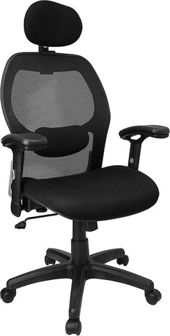 High Back Super Mesh Office Chair with Black Fabric Seat LF-W42B-HR-GG by Flash Furniture - Peazz Furniture