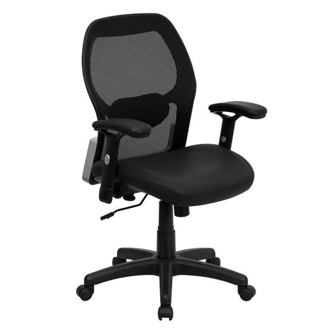 Mid-Back Super Mesh Office Chair with Black Italian Leather Seat LF-W42B-L-GG by Flash Furniture - Peazz Furniture