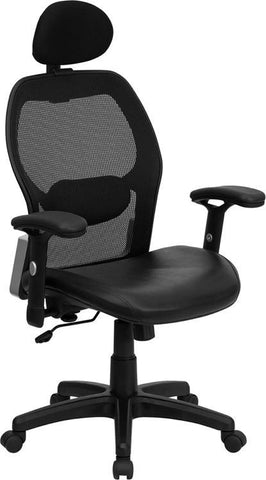 High Back Super Mesh Office Chair with Black Italian Leather Seat LF-W42B-L-HR-GG by Flash Furniture - Peazz Furniture
