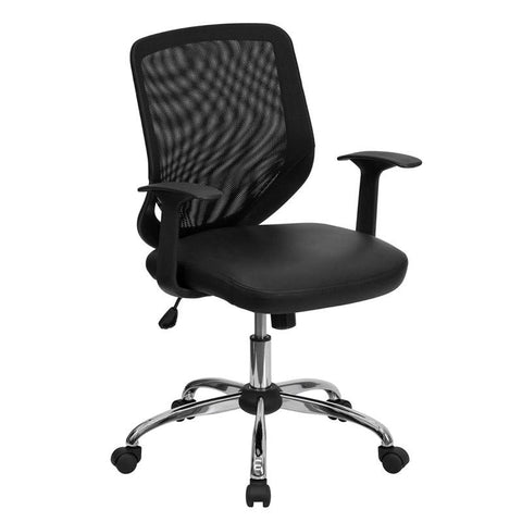 Mid-Back Black Office Chair with Mesh Back and Italian Leather Seat LF-W95-LEA-BK-GG by Flash Furniture - Peazz Furniture
