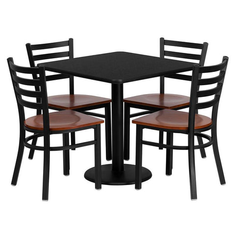 Flash Furniture MD-0003-GG 30'' Square Black Laminate Table Set with 4 Ladder Back Metal Chairs - Cherry Wood Seat - Peazz Furniture