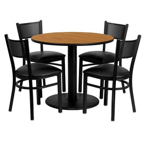 Flash Furniture MD-0006-GG 36'' Round Natural Laminate Table Set with 4 Grid Back Metal Chairs - Black Vinyl Seat - Peazz Furniture