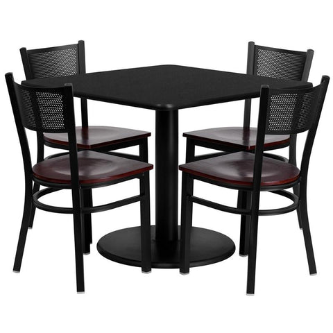 Flash Furniture MD-0008-GG 36'' Square Black Laminate Table Set with 4 Grid Back Metal Chairs - Mahogany Wood Seat - Peazz Furniture