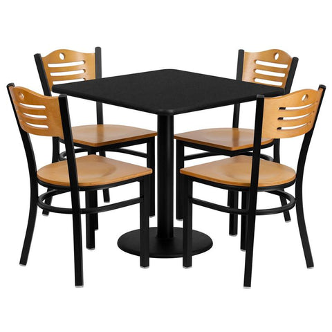 Flash Furniture MD-0010-GG 30'' Square Black Laminate Table Set with 4 Wood Slat Back Metal Chairs - Natural Wood Seat - Peazz Furniture