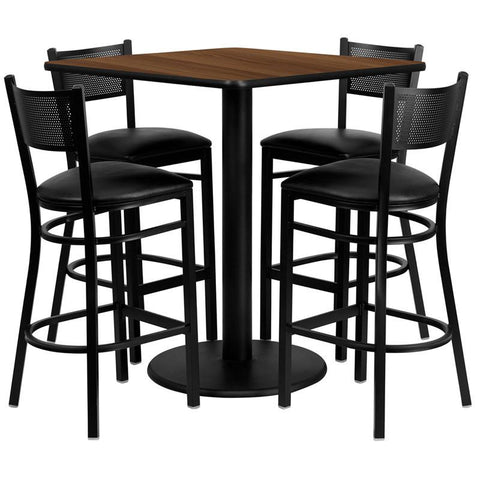 Flash Furniture MD-0015-GG 36'' Square Walnut Laminate Table Set with 4 Grid Back Metal Bar Stools - Black Vinyl Seat - Peazz Furniture