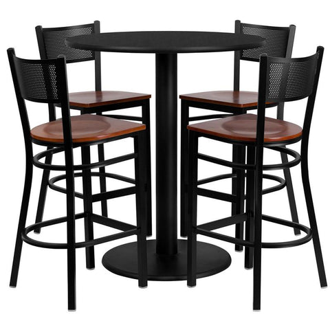 Flash Furniture MD-0018-GG 36'' Round Black Laminate Table Set with 4 Grid Back Metal Bar Stools - Cherry Wood Seat - Peazz Furniture
