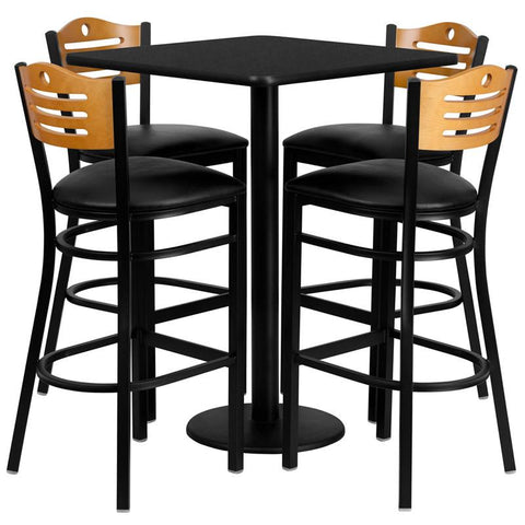Flash Furniture MD-0019-GG 30'' Square Black Laminate Table Set with 4 Wood Slat Back Metal Bar Stools - Black Vinyl Seat - Peazz Furniture