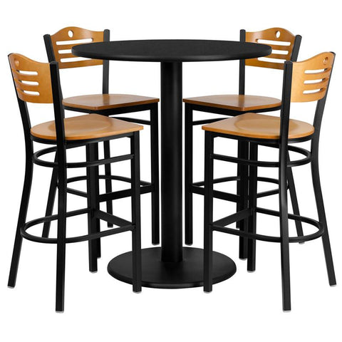 Flash Furniture MD-0020-GG 36'' Round Black Laminate Table Set with 4 Wood Slat Back Metal Bar Stools - Natural Wood Seat - Peazz Furniture