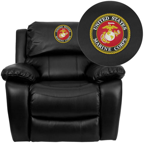 Flash Furniture MEN-DA3439-91-BK-EMB-GG Personalize Your Black Leather Rocker Recliner - Peazz Furniture