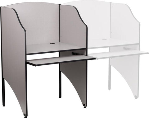 Starter Study Carrel in Nebula Grey Finish MT-M6201-GY-GG by Flash Furniture - Peazz Furniture