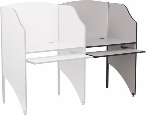 Add-On Study Carrel in Nebula Grey Finish MT-M6202-GY-ADD-GG by Flash Furniture - Peazz Furniture