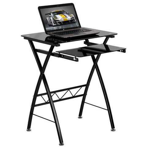 Flash Furniture NAN-CP-60-GG Black Tempered Glass Computer Desk with Pull-Out Keyboard - Peazz Furniture