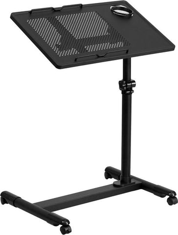 Flash Furniture NAN-JG-06B-BK-GG Black Adjustable Height Steel Mobile Computer Desk - Peazz Furniture