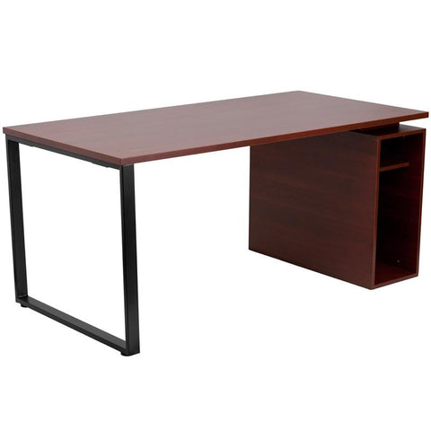 Flash Furniture NAN-JN-2108-GG Mahogany Computer Desk with Open Storage Pedestal - Peazz Furniture