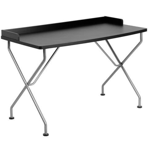 Flash Furniture NAN-JN-2116-BK-GG Black Computer Desk with Silver Frame - Peazz Furniture