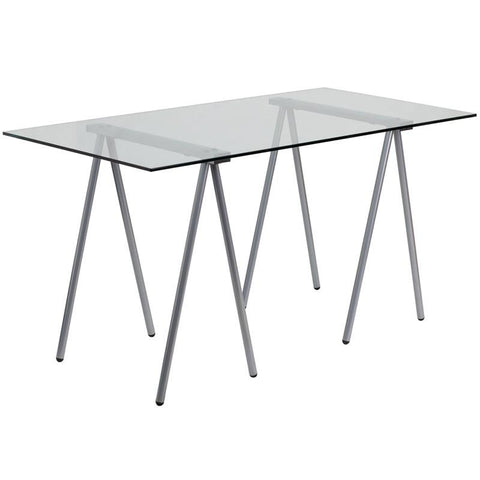 Flash Furniture NAN-JN-2119-GG Glass Computer Desk with Silver Frame - Peazz Furniture