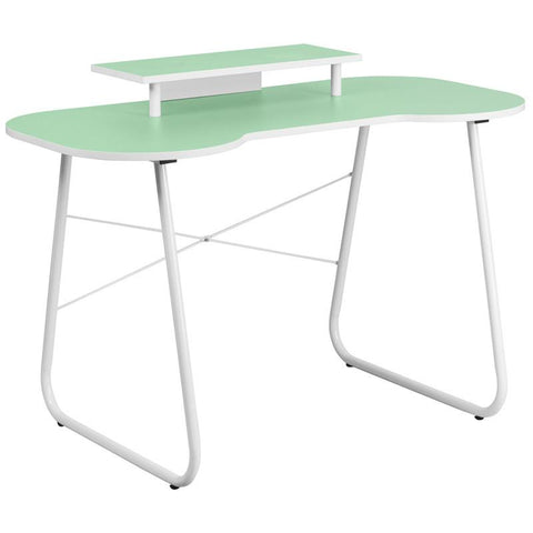 Flash Furniture NAN-JN-2360-MT-GN-GG Green Computer Desk with Monitor Stand and White Frame - Peazz Furniture