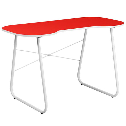 Flash Furniture NAN-JN-2360-RED-GG Red Computer Desk with White Frame - Peazz Furniture