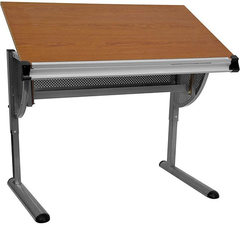 Adjustable Drawing and Drafting Table with Pewter Frame NAN-JN-2433-GG by Flash Furniture - Peazz Furniture