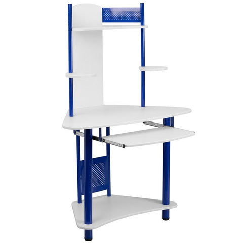 Flash Furniture NAN-JN-2705-BL-GG Blue Corner Computer Desk with Hutch - Peazz Furniture