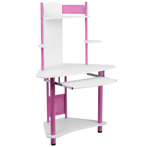 Flash Furniture NAN-JN-2705-PK-GG Pink Corner Computer Desk with Hutch - Peazz Furniture