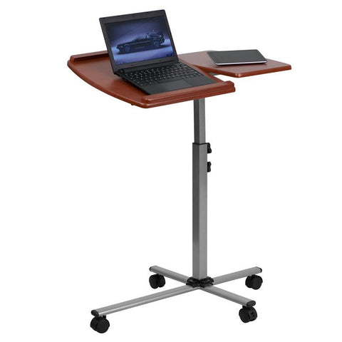 Flash Furniture NAN-JN-2762-GG Angle and Height Adjustable Mobile Laptop Computer Table with Cherry Top - Peazz Furniture