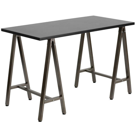 Flash Furniture NAN-JN-2834W-BK-GG Black Computer Desk with Brown Frame - Peazz Furniture
