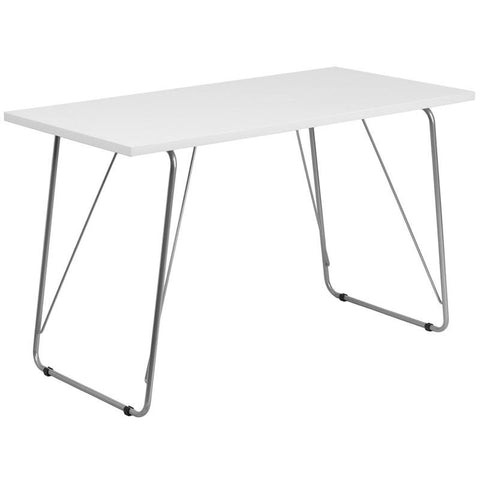 Flash Furniture NAN-JN-2956-WH-GG White Computer Desk with Silver Frame - Peazz Furniture