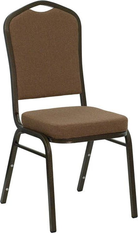 HERCULES Series Crown Back Stacking Banquet Chair with Coffee Fabric and 2.5'' Thick Seat - Gold Vein Frame NG-C01-COFFEE-GV-GG by Flash Furniture - Peazz Furniture